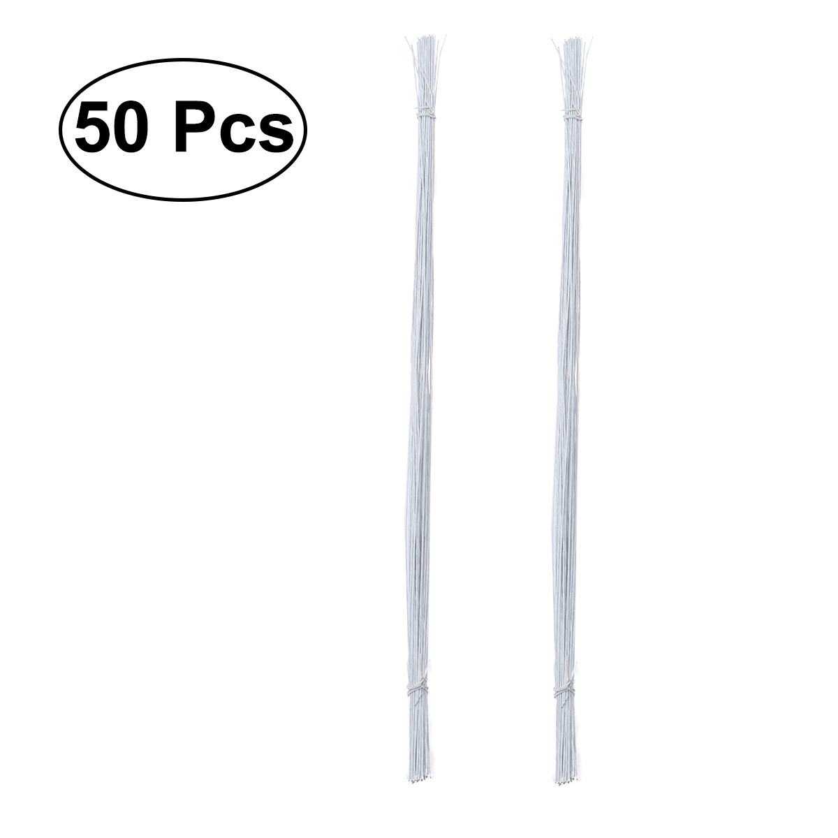 50pcs 24 Gauge White Floral Wire Stem Handmade Artificial