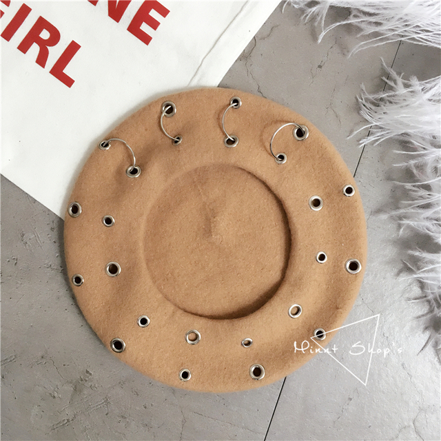 13 Color Ins Tumblr Hipster Rivet Hole Patchwork Metal Buckle Circle Party/Club/Travel Harujuku Beret Hat