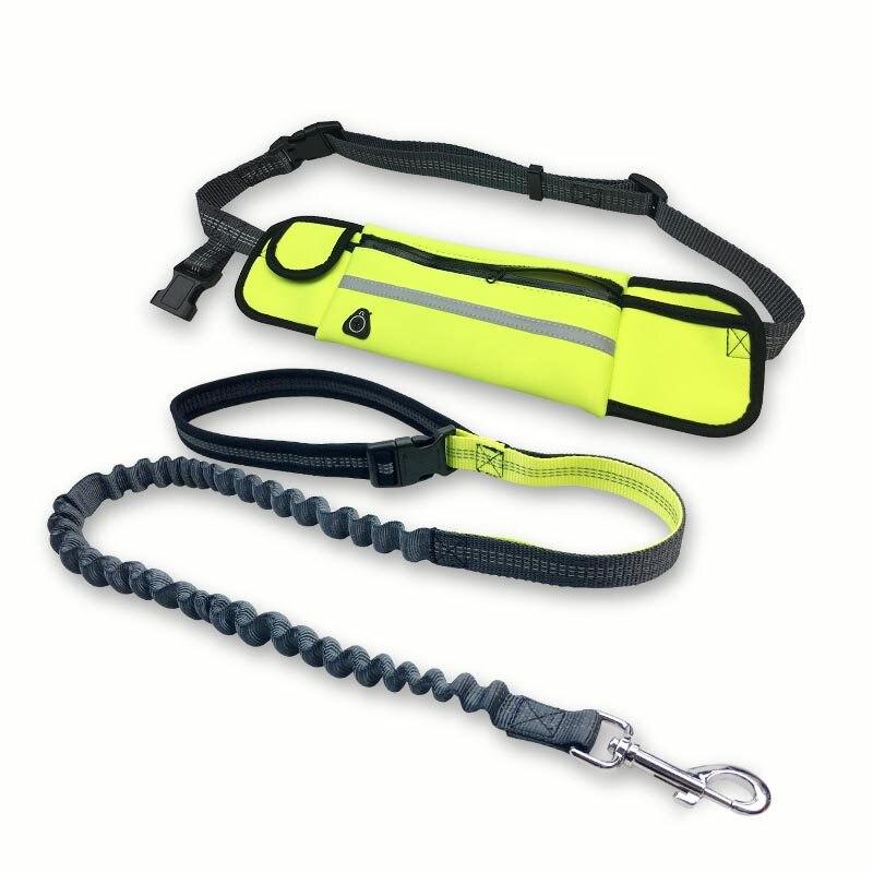 High Quality Sports Waist Bag Reflective Running Leash Rope Hands Free Pet Leash Lead Dog Running Waist Bag
