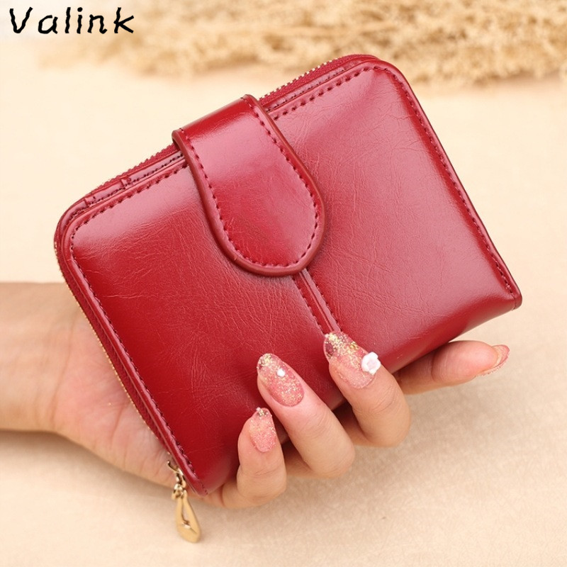 Valink New Women Wallets Leather Lady Short Wallet Clutch Small Coin Purse Card Holder Fashion Female Purse Carteira Feminina 100% women genuine leather wallet oil wax cowhide purse woman vintage lady clutch coin purses card holder carteira feminina