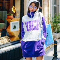 Trendy Hit Color Patchwork Print Harajuku Hoodie Women 2019 New Arrival Spring Long Hoodies Turtleneck Hooded Sweatshirt Tide