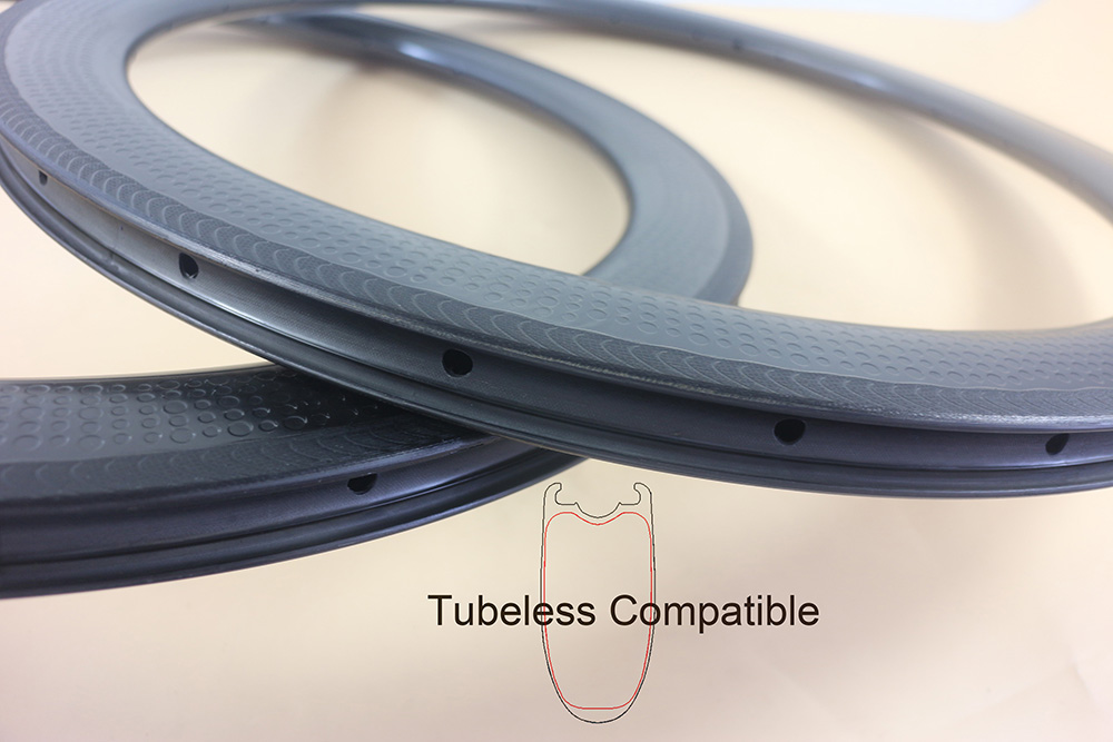 Tubeless compatible 58mm road bike carbon rims 26mm wide Clincher Dimpled rims 14 16 18 20