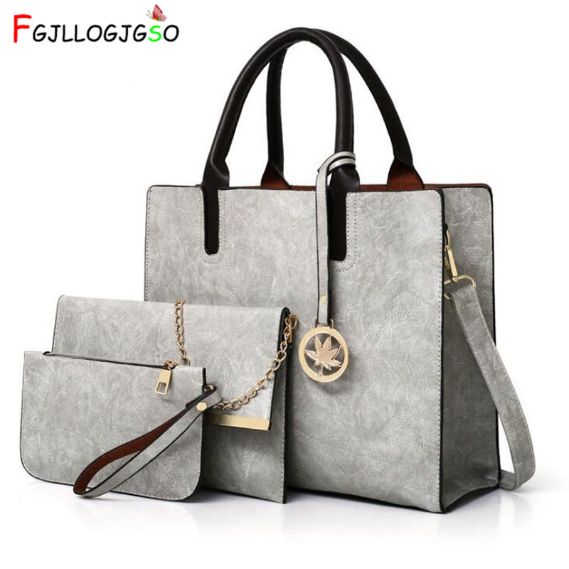 FGJLLOGJGSO Women Bags Set 3Pcs Leather Handbag Women Large Tote Bags Ladies Shoulder Bag Handbag+Messenger Bag+Purse Sac a Main women handbags leather handbag multicolor women messenger bags ladies brand designs bag handbag messenger bag purse 6 sets