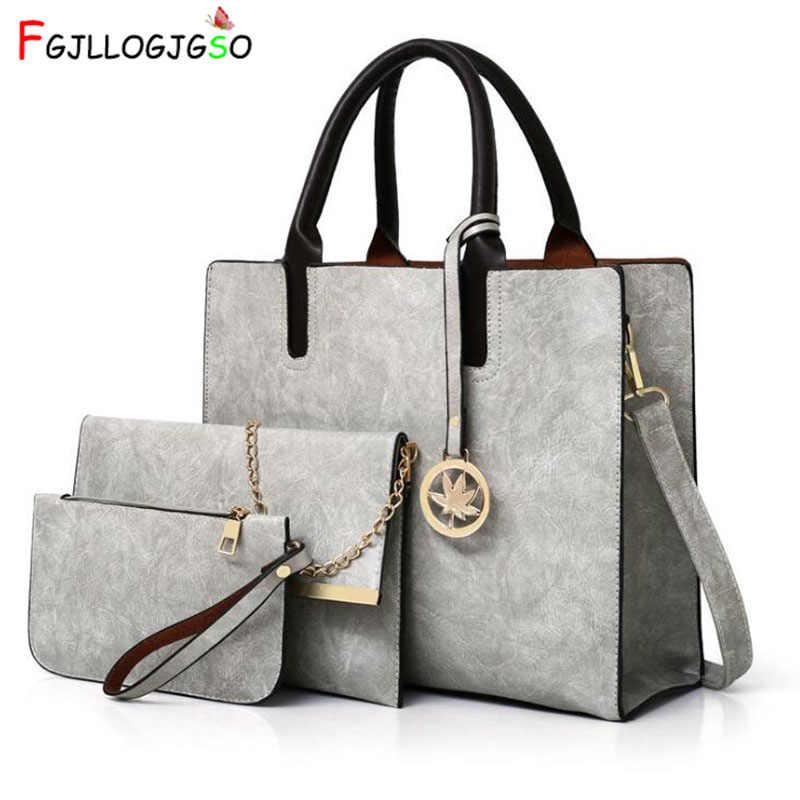 7803bac4c61b FGJLLOGJGSO Women Bags Set 3Pcs Leather Handbag Women Large Tote Bags  Ladies Shoulder Bag Handbag+Messenger Bag+Purse Sac a Main