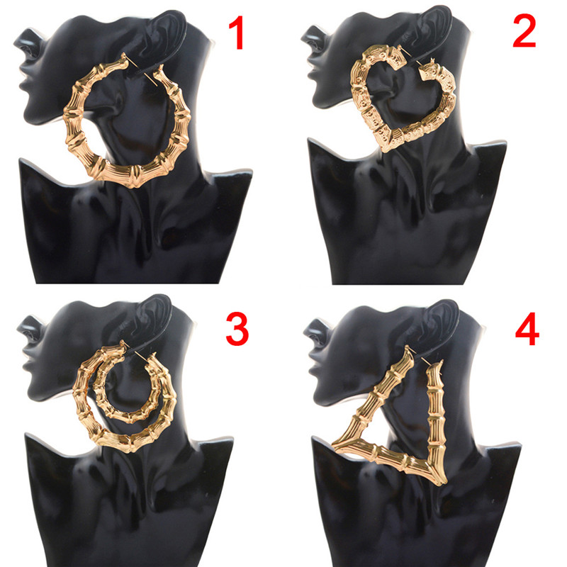 1 Pair Women Hoop Earrings Basketball Wives Earrings Large Gold Color Big Hoop Earring Bamboo Hoop-earring 4 Styles