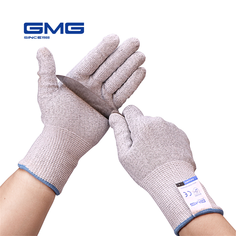 2019 New GMG Grey HPPE With Steel CE Certificated Anti Cut Gloves Work Safety Cut Protection Gloves