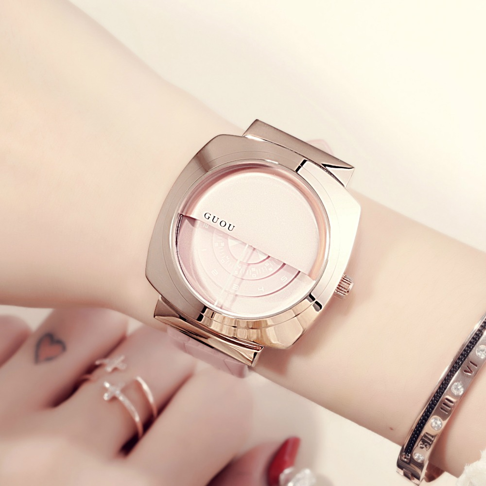 GUOU Brand Luxury Rose Gold Women Watch Fashion Casual Quartz Watch Ladies Dress Leather Watch Waterproof Clock relogio feminino