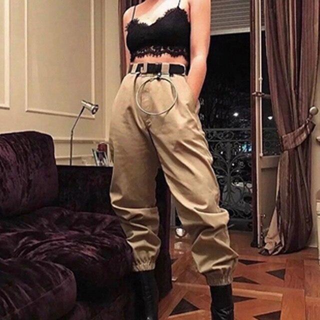 Spring 2019 fashion woman camo pants women cargo high waist pants loose trousers joggers women camouflage sweatpants streetwear 2