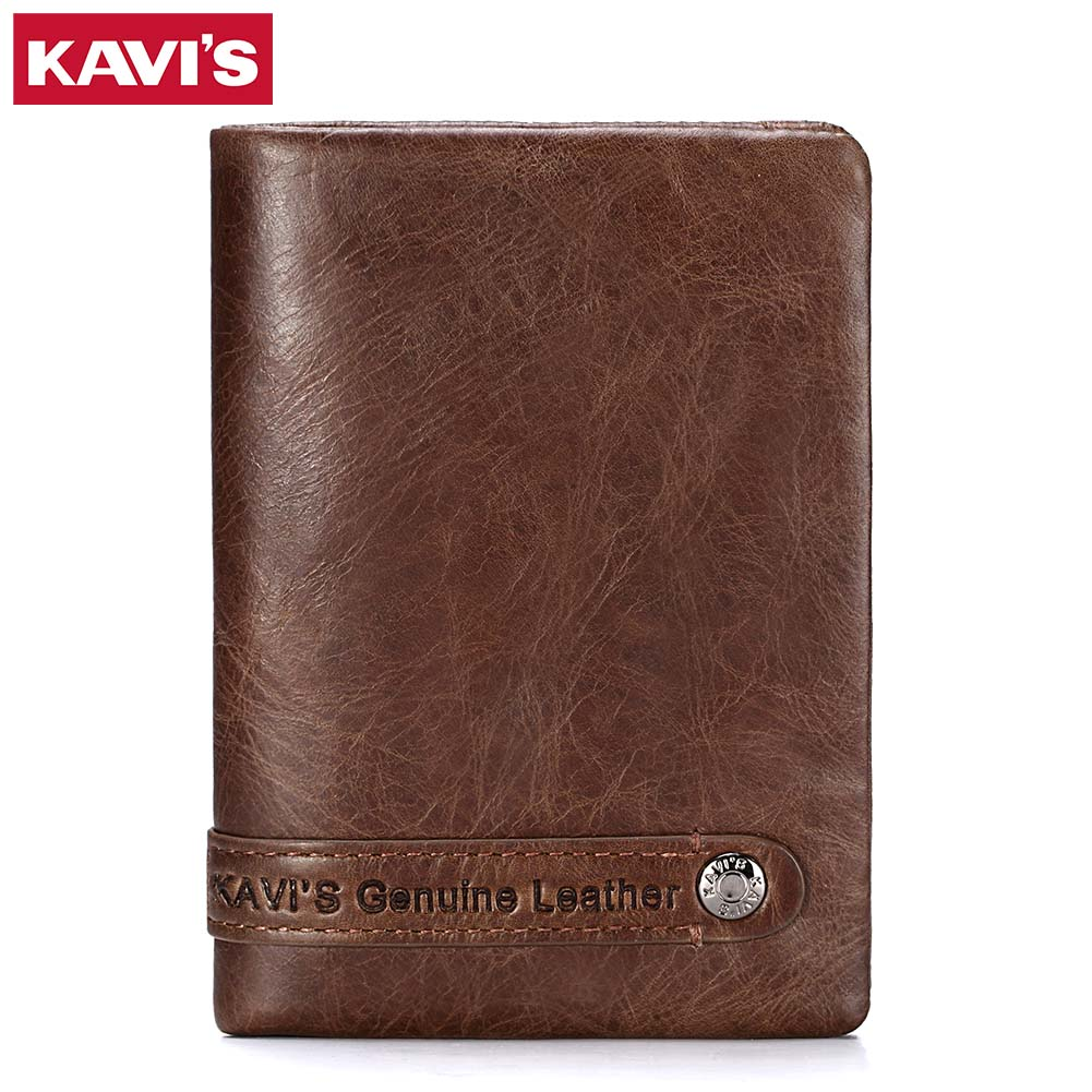 KAVIS Genuine Leather Wallet Men Card Holder and Coin Purse Rfid Walet PORTFOLIO Portomonee Mini Vallet Fashion for Magic Small