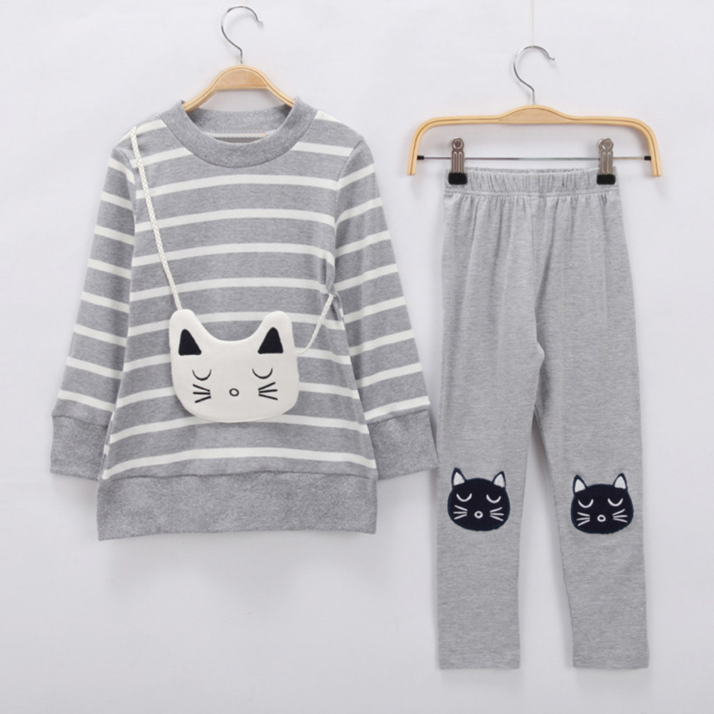 Toddler Kid Girl Stripe Cartoon Cat T shirt Top+Pant 2pcs Outfit childrens Clothing set winter suit for New Years costumes