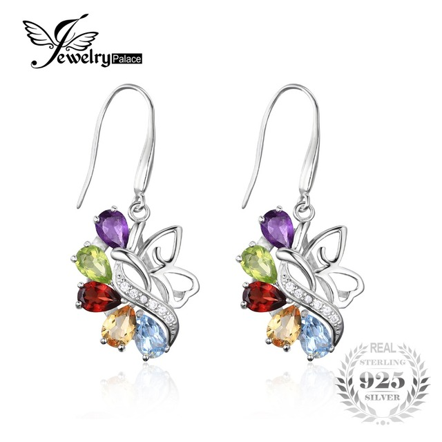 JewelryPalace Butterfly 4.8ct Genuine Amethyst Citrine Garnet Peridot Sky Blue Topaz Long Earrings For Women 925 Sterling Silver