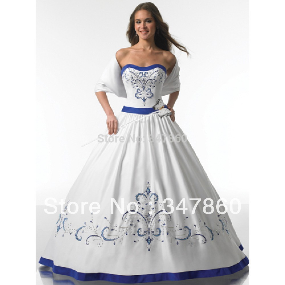 real sample 2017 classic style strapless satin embroidery with beading royal blue and white wedding dresses