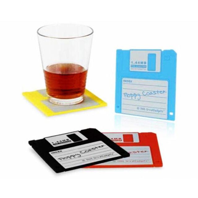 6 pièces Silicone disquette tasse tapis sous-verres boissons sous-verres décor Bar accessoire disque sous-verres rétro boisson tasse