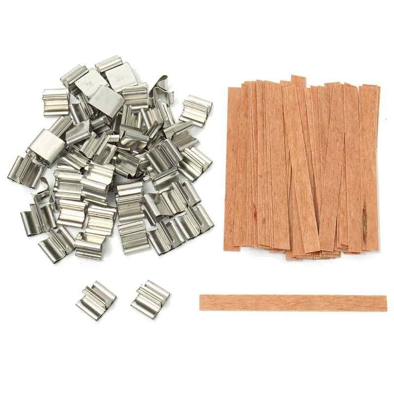 50Pcs 6mm 8mm 12.5mm 13mm Wooden Candles Wick with Sustainer Tab Candle Wick Core for Candle Making Supply Soy Parffin Wax