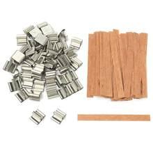 50 Uds 6mm 8mm 12,5mm 13mm de madera mecha para velas con Sustentador Tab mecha de vela Core para fabricación de velas de soja Parffin cera