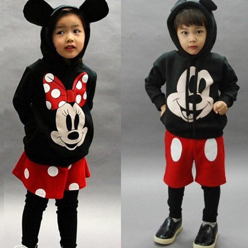 Mickey Minnie Clothing Girls Boys Kids Spring Autumn Long Sleeve Casual Hoodies Sweatshirt + Skirt Shorts + Legging 2 Pcs Sets round neck long sleeve 3d coins print sweatshirt
