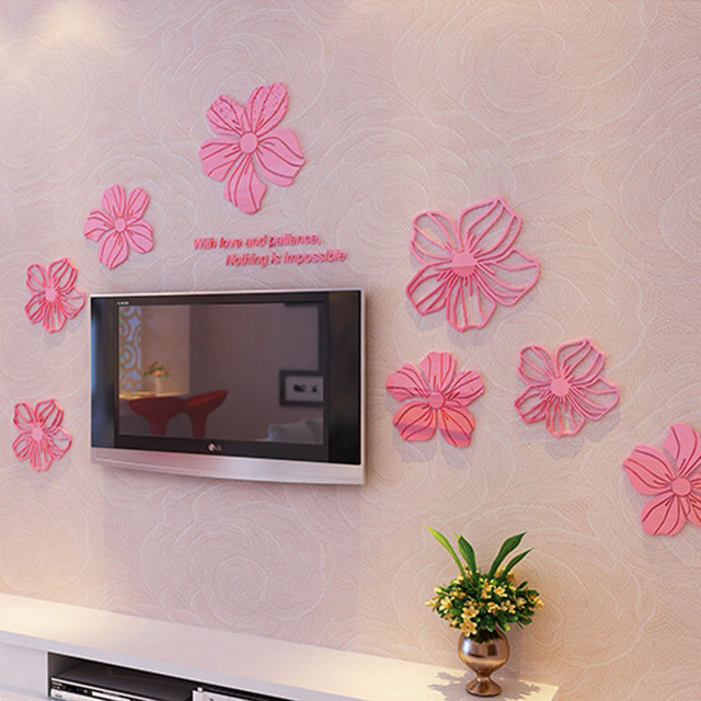 1 Sheet Beautiful Flowers Design Acrylic Wall Stickers 3D Wall ...