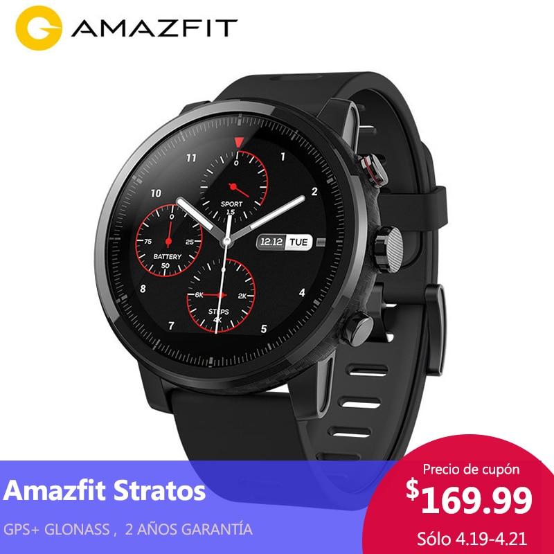 [PLAZA GARANTÍA ] Versión de español Xiaomi Huami Amazfit Stratos 2 Smart Watch hombres GPS 5ATM Heart Rate Monitor deportes Smartwatch firstbeat