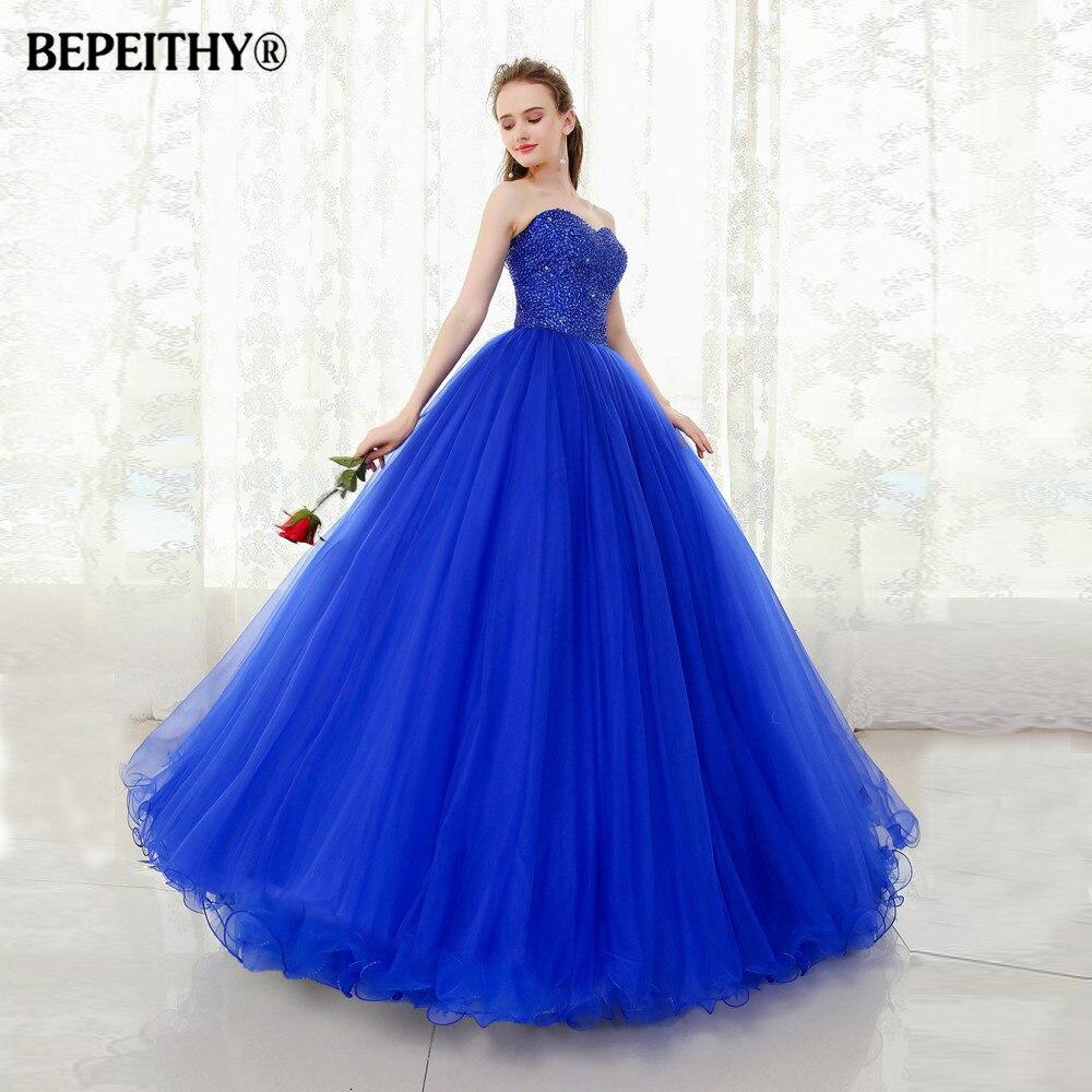 BEPEITHY Sweetheart Beaded Ball Gown Prom Dresses Floor Length Vestido Longo Vintage Evening Dress Party Elegant 2019