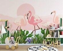 beibehang Custom Wallpaper Living Room Bedroom 3d Modern Hand Painted tropical plant flamingo cactus photo wallpaper