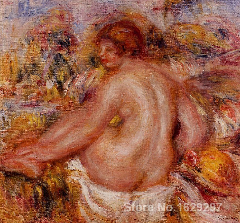 art reproductions canvas <font><b>After</b></font> <font><b>Bathing</b></font>, Seated Female <font><b>Nude</b></font> Pierre Auguste Renoir painting Hand-painted High quality