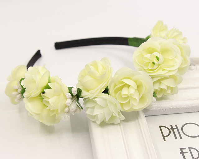 e5aeaab84bf Beige color summer Garland Floral Bridal Headband Hair band woman children  Wedding Party Prom Festival Artificial