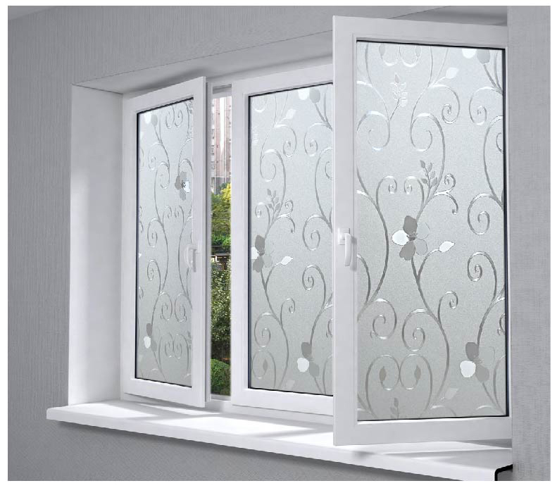 plastic flower pattern glass film frosted opaque glass insulation