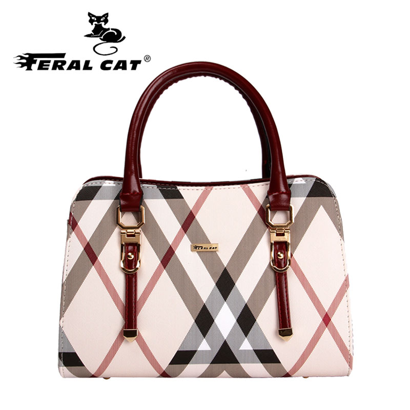 Women Bag 2017 Designer Doctor Bags Plaid Shoulder Handbags Top Handle Tote High Quality Famous Brand Free Shipping 6023