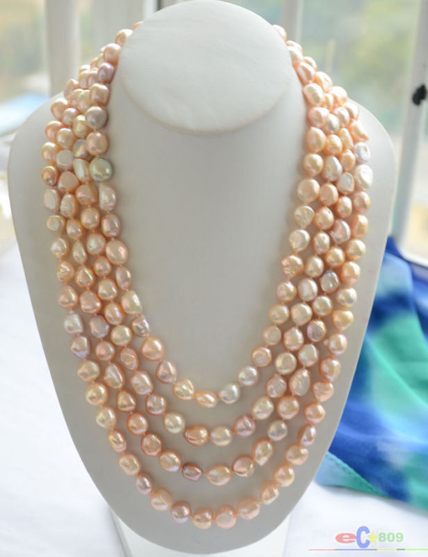 Natural 100 8 9mm pink lavender baroque freshwater pearl necklace Long sweater chain
