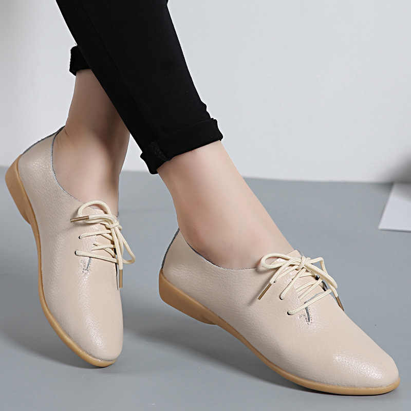 6ce227696f99a 2019 Spring Women Oxford Shoes Ballerina Flats Shoes Women Genuine ...