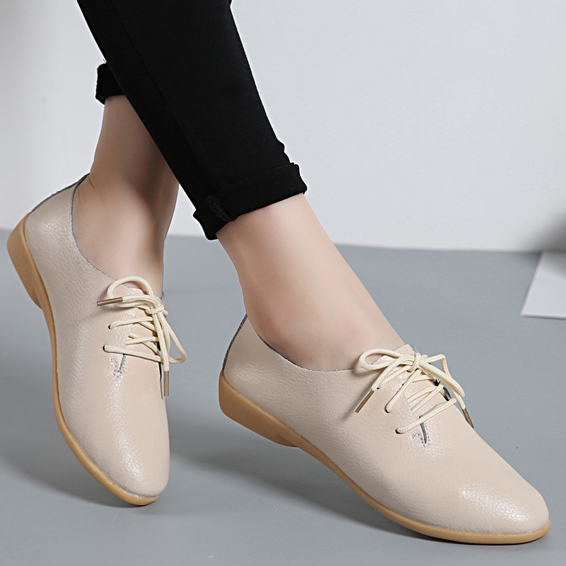 2019 Spring Women Oxford Shoes Ballerina Flats Shoes Women Genuine Leather Shoes Comfort Loafers White Ladies Shoes 11 Colour