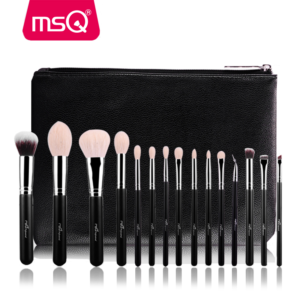 MSQ 15 pcs Pro Maquillage Pinceaux Poudre Blush Fard À Paupières de Mélange Pinceaux de Maquillage de Haute Qualité PU Étui En Cuir