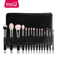 MSQ 15pcs Professional Makeup Brushes Set Make Up Brushes High Quality Goat Hair With PU Leather