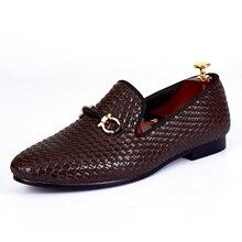Harpelunde плетеной кожи Мужская Свадебная обувь коричневого цвета обувь на плоской подошве размеры 7–14