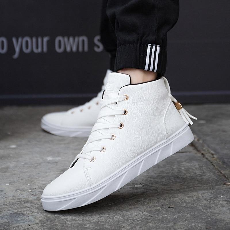 995a33cb0 New Spring/Autumn Men Casual Shoes Breathable Black High-top Lace-up Canvas  Shoes Fashion White Balck Men's Flats