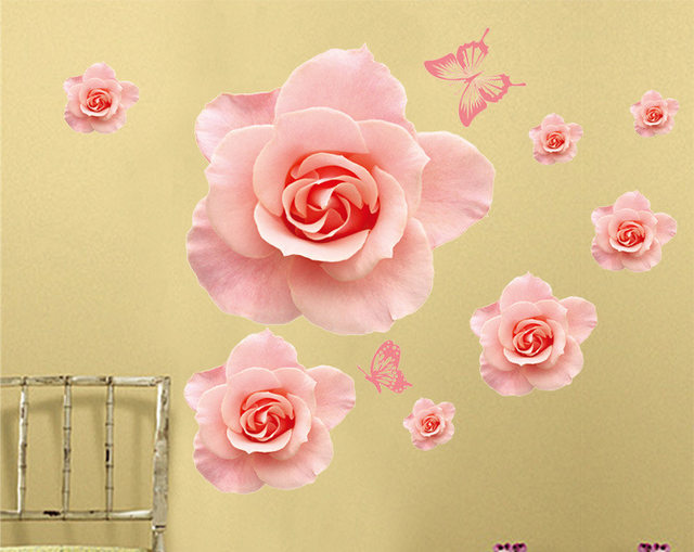 Rose Flowers Patterns Wall Stickers Decals Women Salon Bedoom Furniture  Home Decor Pink Blossom Self Adhesive DIY Wall Papers