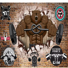 Custom 3D mural retro nostalgic bear gym image wall decoration painting wallpaper