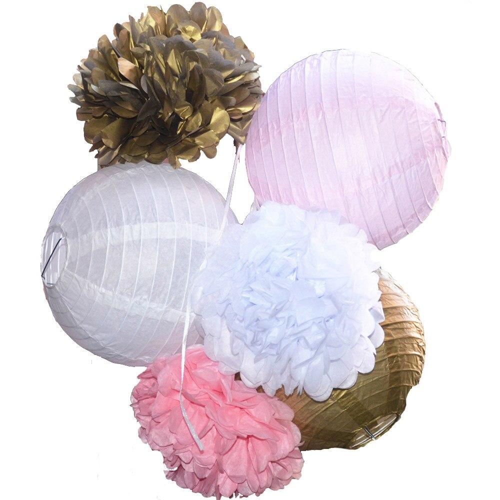 6 unids mezclado 3 colores (rosa, blanco, oro) partido linterna de boda con pomp