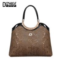 DIZHIGE Women Handbag Serpentine Leather Bags Ladies Top Handle Bags Female Tote Bag 2017 Luxury Brand