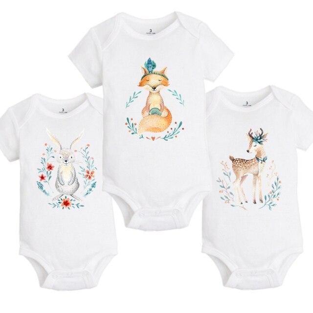 e6789acb3 YSCULBUTOL Baby Boho style forest animals Bodysuits Infant boy girl ...