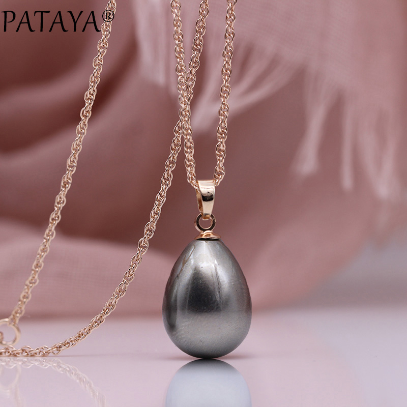 HTB19W VObvpK1RjSZFqq6AXUVXat - PATAYA New 328 Anniversary Water Drop Long Necklace Women Fashion Jewelry 585 Rose Gold Wedding Fine Cute Shell Pearls Pendants