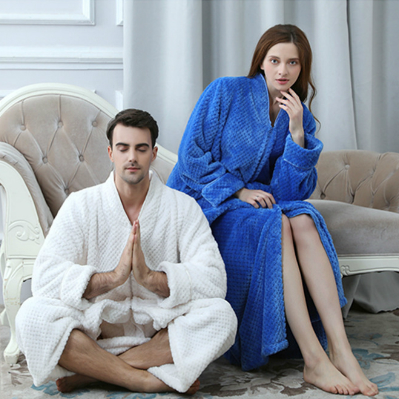 Winter Bathrobe Women Pajamas Couples Long Thick Bath Robe Sleepwear Man Robes Coral Velvet Cartoon Nightgowns Homewear