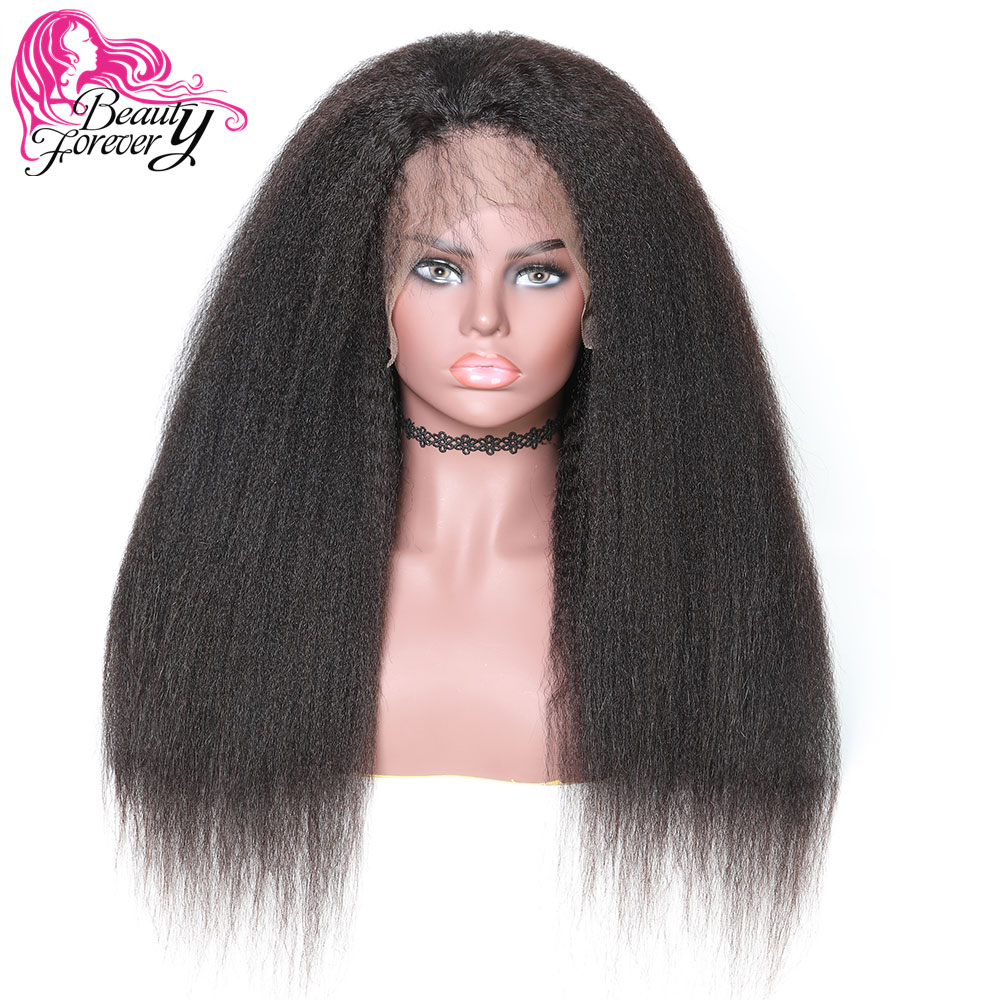 Beautyforever Half Hand Tied Peruvian Kinky Straight 360 Lace Front Wigs 100% Remy Human Hair Wig 180% Density Natural Color Human Hair Lace Wigs