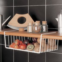 Kitchen Shelf Storage Basket Iron Storage Closet Hanging Basket Cupboard Rack Multi Functional Storage Rack