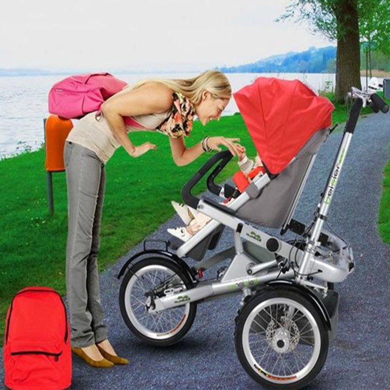 Flambant neuf mère bébé vélo poussette enfants pliant trois roues