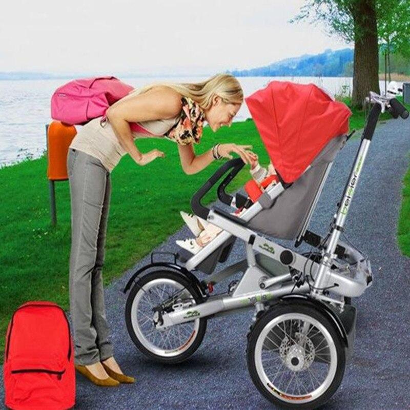 Nouvelle mère bébé vélo poussette enfants pliant trois roues landau vélo enfant vélo chariot enfants pas Taga vélo poussette