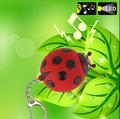 FREE SHIPPING BY DHL 200pcs/lot Plastic Ladybird LED Keychains with Sound Flashlight Keyrings Gift for Kids