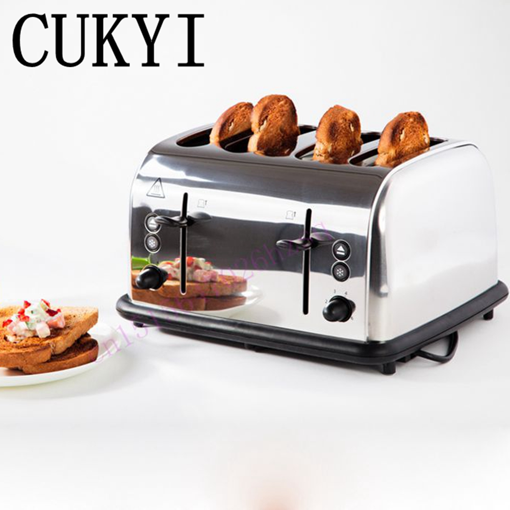 CUKYI hot sale 4 Slice Toaster Fully automatic toaster commercial stainless steel toaster Spit driver цена и фото