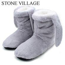 Slippers Soft Woman Shoes Stone Village Winter Women Wooden Floor Cute Plush Indoor Rabbit-Ear