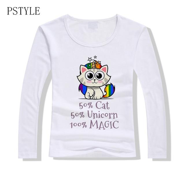 d4a11c8c92d Cat Unicorn Printing T Shirt Women Long Sleeve Tshirt Kawaii Rainbow Color T  Shirts Casual Girl Autumn Tee Tops Clothing